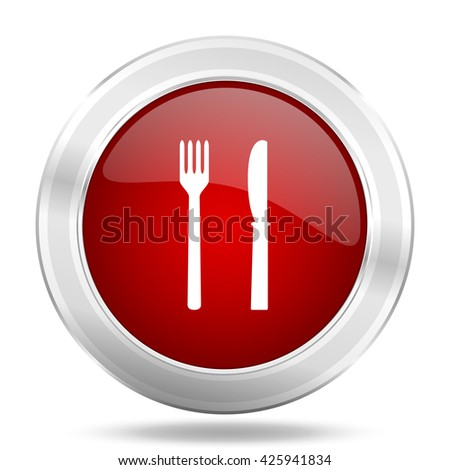 eat icon, red round metallic glossy button, web and mobile app design illustration