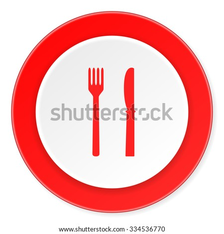 eat red circle 3d modern design flat icon on white background