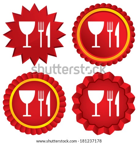 Eat sign icon. Cutlery symbol. Knife, fork and wineglass. Red stars stickers. Certificate emblem labels.