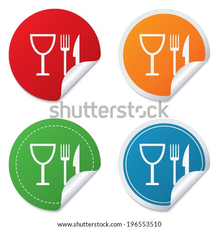 Eat sign icon. Cutlery symbol. Knife, fork and wineglass. Round stickers. Circle labels with shadows. Curved corner.