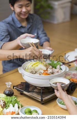 Eat with everyone Japan pot cuisine - stock photo