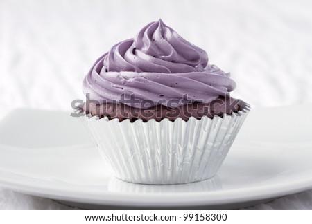 Eatable taro cupcake ready to serve for you - stock photo
