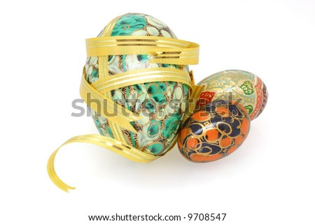 Eater eggs ornament in floral design isolated on white background