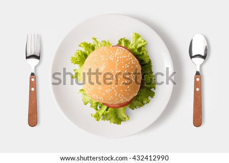 Eating bbq burger on dish isolated on white background. Clipping Path included isolated on white background. - stock photo