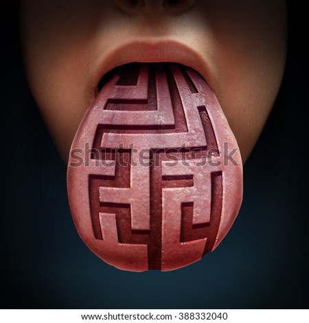 Eating disorder and binge feeding psychiatric health issue as a human tongue with a maze or labyrinth pattern as a medical symbol for anorexia bulimia or purging illness issues and finding solutions.