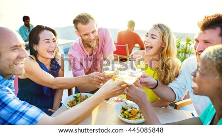 Eating Drinking Celebration Vacation Friendship Concept