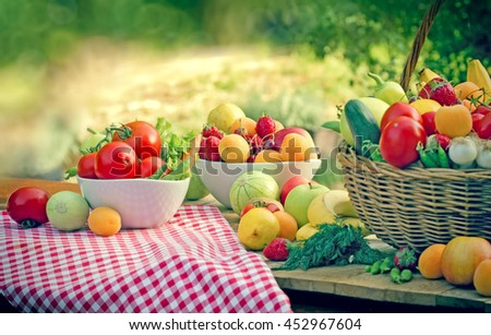 Eating healthy food - healthy diet with organic fruit and vegetable - stock photo