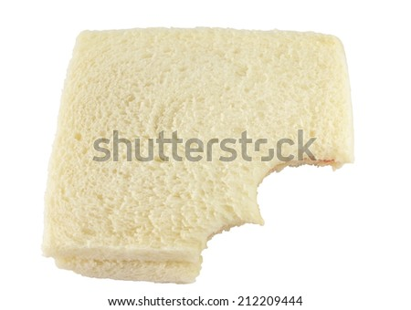eating  of bread on a white background - stock photo