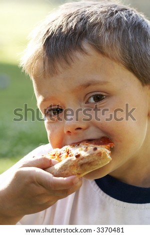 eating pizza - stock photo