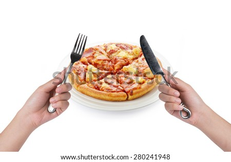 eating pizza on white background  - stock photo