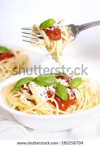 Eating Spaghetti - stock photo