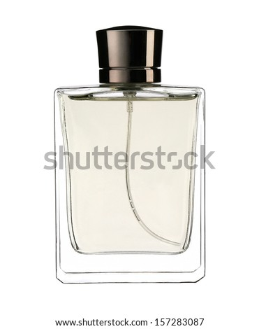 Eau de cologne / studio photography of the modern perfume bottle - isolated on white background