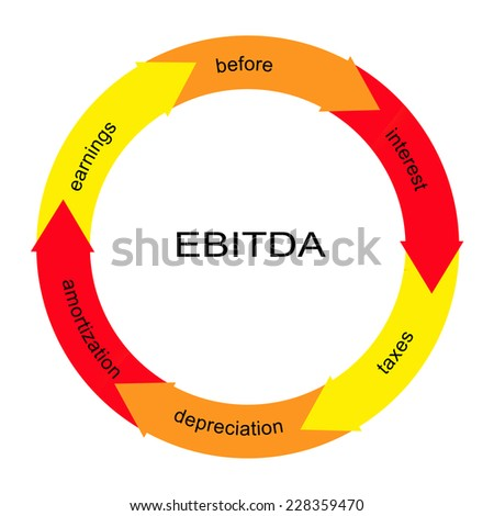 EBITDA Word Circle Concept with great terms such as earnings, depreciation, taxes and more. - stock photo