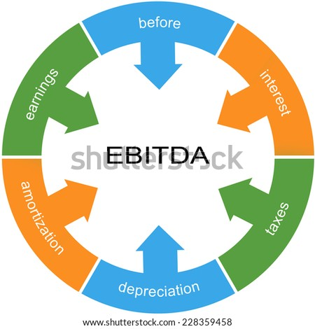 EBITDA Word Circle wheel Concept with great terms such as earnings, depreciation, taxes and more. - stock photo