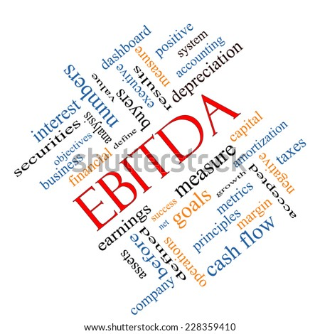 EBITDA Word Cloud Angled Concept with great terms such as earnings, before, taxes, interest and more. - stock photo
