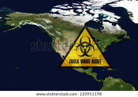 Ebola danger in USA.Elements of this image furnished by NASA. - stock photo