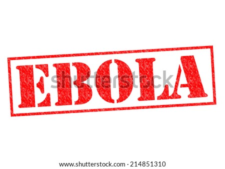 EBOLA red Rubber Stamp over a white background.
