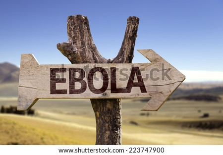 Ebola wooden sign with a desert background - stock photo