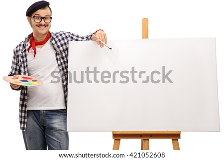 Eccentric artist posing next to a blank canvas on a wooden easel isolated on white background - stock photo