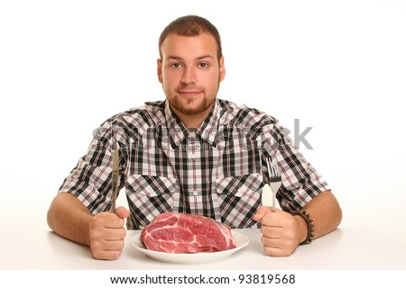 eccentric guy eating red meat