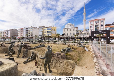 Eceabat,Turkey - February.11, 2016 : Memorial sculptures of the Gallipoli Campaign. The Gallipoli Peninsula is the site of extensive First World War battlefields and memorials.