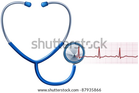 ECG and Stethoscope isolated in white, - stock photo