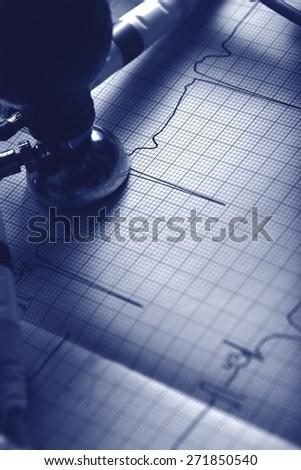 ECG diagnostics concept in monochrome - stock photo