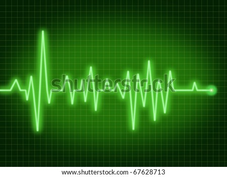 ecg ekg monitor pulse rate medical symbol of health and healthy lifestyle green