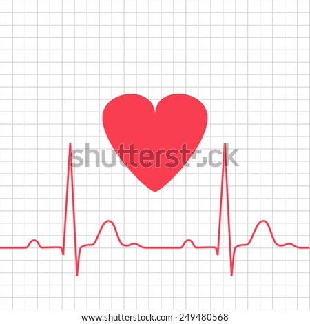 ECG - electrocardiogram with heart on grid, 2d illustration, raster - stock photo