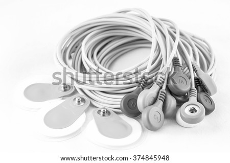 ECG Electrodes with black and white color concept - stock photo