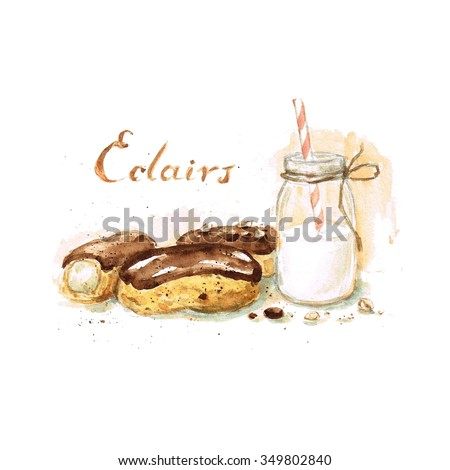 Eclairs - Watercolor Food Collection - stock photo