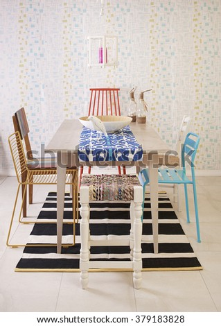 eclectic dining table modern dining room decor vertical banner - stock photo