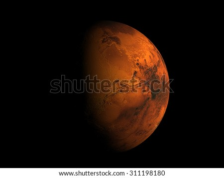Eclipse of  Planet Mars.Elements of this image furnished by NASA - stock photo