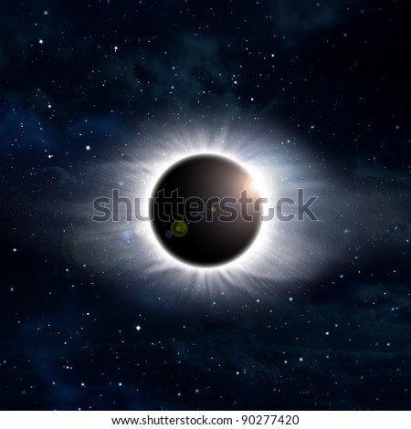 eclipse of the sun on the black, used for the background - stock photo