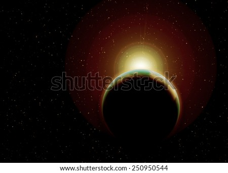 Eclipse of the sun,Solar eclipse, view of stars from space galaxy Elements of this image furnished by NASA. - stock photo
