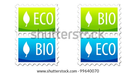 Eco and Bio Stamps on White Canvas - stock photo