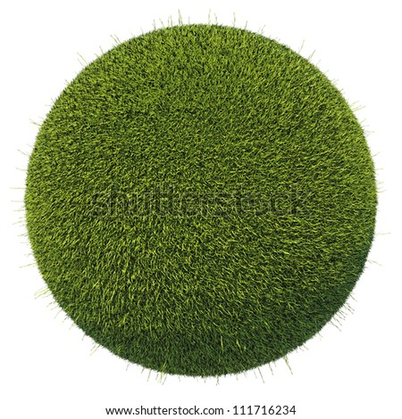 Eco and environment: green fresh grass globe isolated on white
