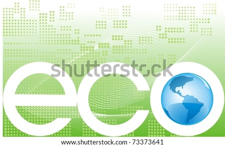 Eco banner on green abstract background with Earth