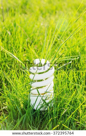 eco bulb in green grass - stock photo