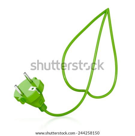 Eco bulb, leaf and plug isolated on white background. Green concept - stock photo