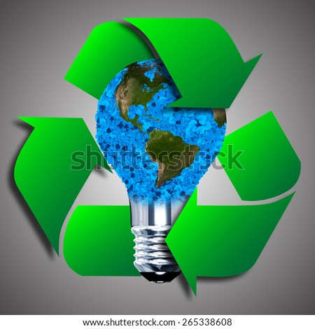 Eco bulb made from green leaves and eco sign. 3D render. - stock photo