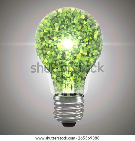 Eco bulb made from green leaves. 3d render. - stock photo