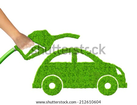 eco car and  gasoline fuel on white background  - stock photo