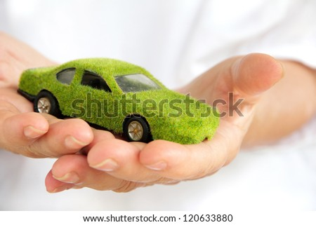 Eco car icon - stock photo