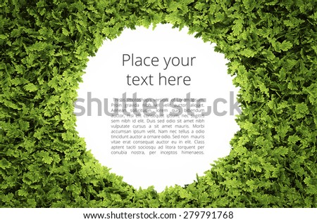 Eco circular text frame with simple text pattern - clipping path of green leaf shape included - stock photo