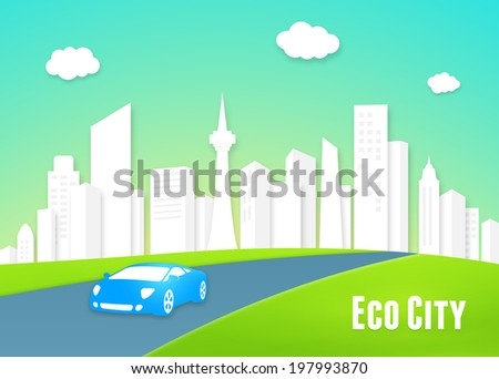 Eco city concept with a clean white urban cityscape of modern high-rise buildings and an eco-friendly efficient electric car driving into the lush green countryside along the highway - stock photo