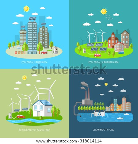 Eco city design concept set with ecologically urban suburban area clean village flat icons isolated  illustration