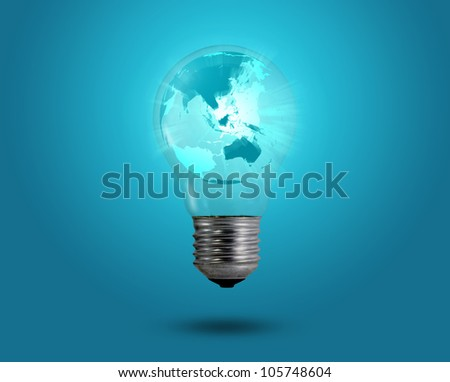 eco concept: light bulbs with map of world inside - stock photo