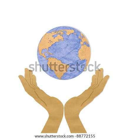 Eco concept : recycled paper cut of two hand hold earth