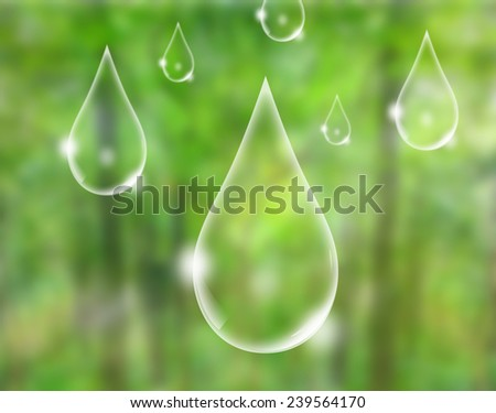 Eco concept : water drop in green forest - stock photo